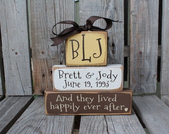 Personalized Wedding Name Established Wedding Family Monogram Happily Ever After Block Set sign wood block set christmas anniversary  gift