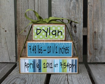 Personalized Name Birth Information Wood Block Set Baby Child Announcement Gift Shower Room Decoration