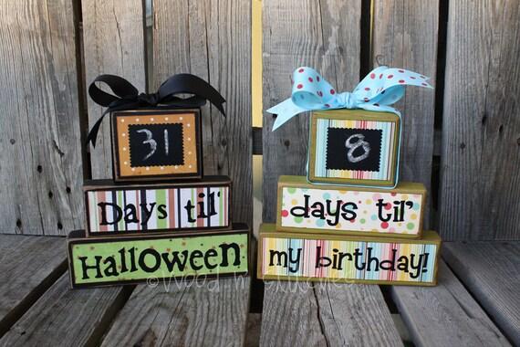 Personalized COUNTDOWNS chalkboard wood block set. . . Christmas, vacation, birthday, Halloween, Disneyland, grandma primitive