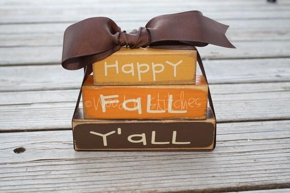 Fall Autumn Primitive Personalized Wood Mini Stacker Block Set gift home seasonal decor gift