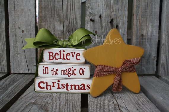 BELIEVE in the MAGIC of CHRISTMAS Mini Stacker with Star . . . Primitive wood block set winter   personalized sign blocks