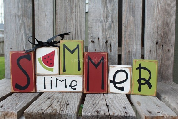 Summer Wood Block Set Seasonal Home Decor Primitive Seasonal Gift Birthday Watermelon Americana 4th of July Sign