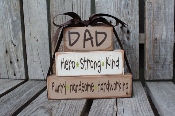 Dad Grandpa Father papa Stacker wood block set personalized gift fathers day home decor.