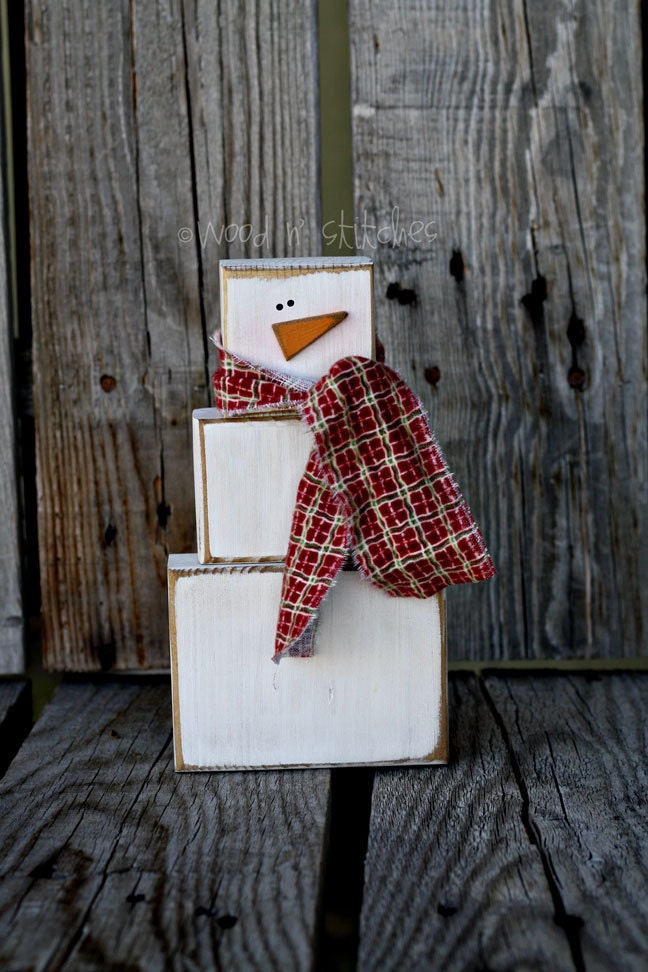 Primitive snowman wood block set simple great addition for Where to buy wood blocks for crafts