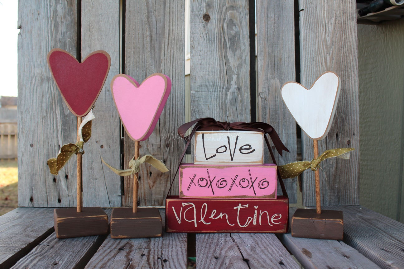 valentine heart flowers set of
