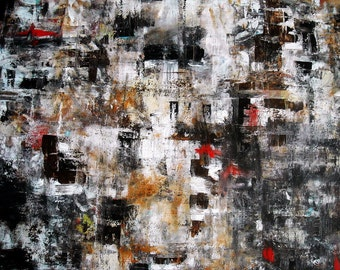Abstract Popular Neutral palette Black Contemporary Modern Original Painting 24X30