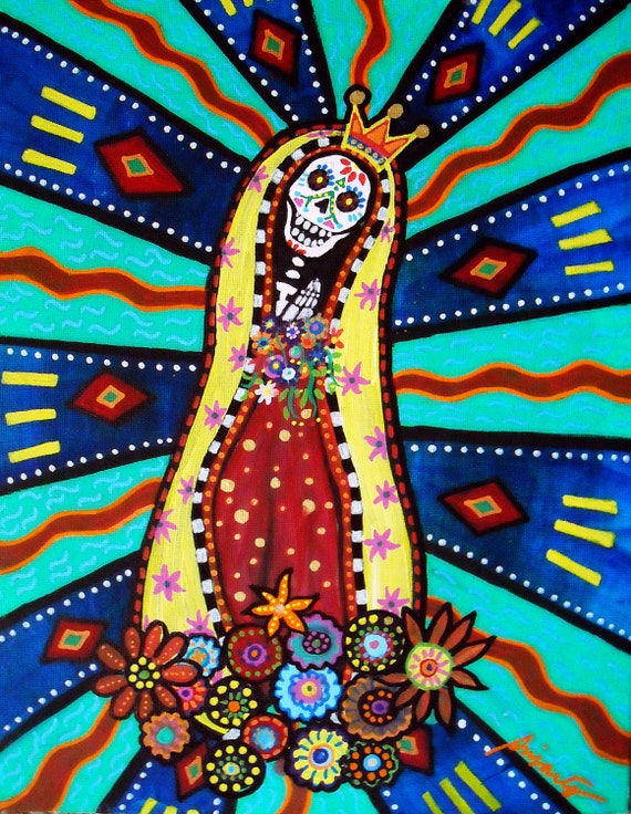 Mexican Day of the Dead  Folk Art Our Lady of Virgin Guadalupe Sugar Painting PRINT