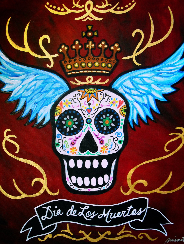 Mexican Day Of The Dead Folk Art Skulls Sugar Painting Print