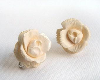Vintage Faux Ivory Earrings Rose Blossom Flower Sterling Silver Screwback Carved Plastic Celluloid Bakelite Cream Winter White Rose Earrings