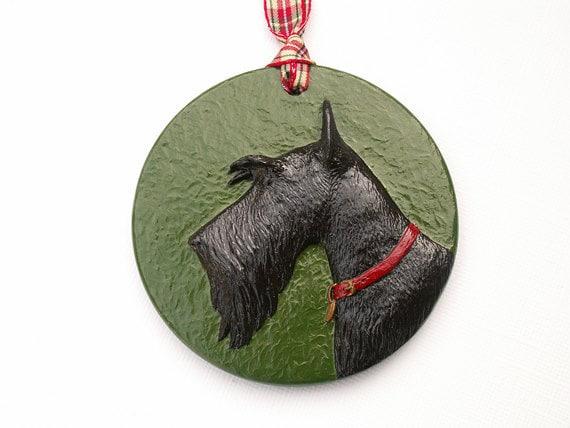 Scottie Dog Ornament Scottish Terrier dog hand painted medallion decorative hanging resin relief sculpture
