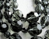 Vintage 50's Crystal Triple Strand Necklace//Smoky Charcoal Gray AB Glass Beads//Betty Draper//Mad Men