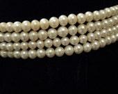 Vintage 50s Faux Pearl Choker//4 Strand Faux Pearl Rhinestone Findings//Wedding//Hepburn//Grace Kelly