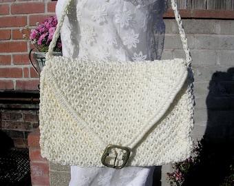 White Purse 70s Macrame Envelope Shoulder Bag iPad Bag Eggshell  Brass Buckle
