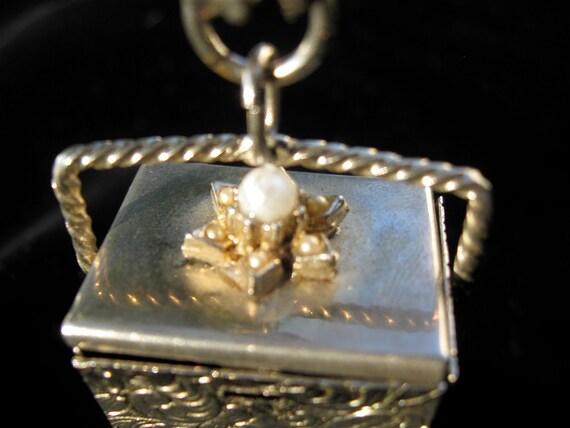 Vintage Charm Bracelet//A Tisket A Tasket A Little Golden Basket//Mad Men//Crawford//Hepburn
