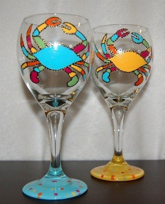 Items similar to funky crab wine glasses set of two on etsy - Funky champagne flutes ...
