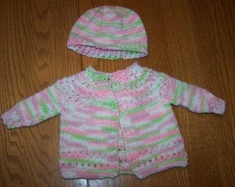 Pastel Newborn Sweater and Hat Set
