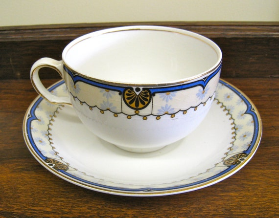 J G Meakin Tea Cup and Saucer, Vintage Dishes, Sol Blue White Yellow, Bone China