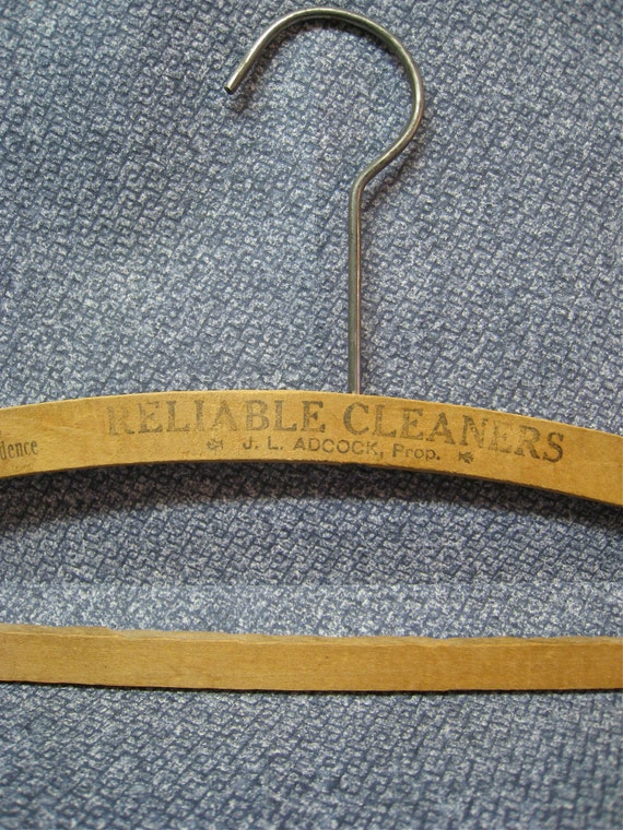 Wooden Hanger Advertising for Reliable Cleaners J.L. Adcock, Salinas California Vintage Dry Cleaning Wood Hanger