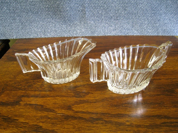 Art Deco Clear Glass Creamer Sugar Set Heavy Pressed Glass Ridgeleigh Pattern
