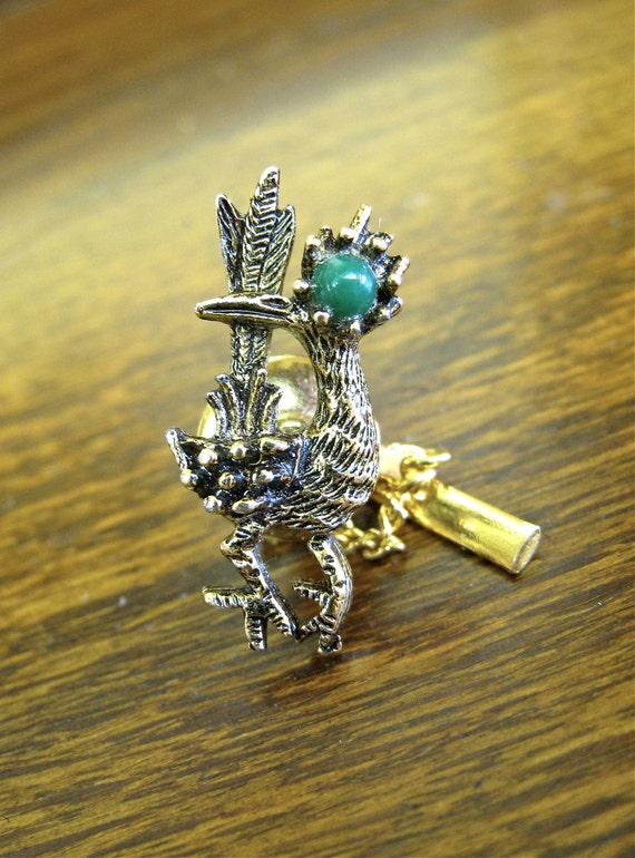 Roadrunner Tie Tack by Ambassador, Vintage Jewelry for Men, Small Green Stone, Gold Tone Pin with Chain and Bar