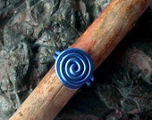SALE mini blue simple swirl ring - aluminum wire spiral US size 8.5
