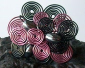 pink and black brooch with hematite beads - swirls and pearls wire spirals pin
