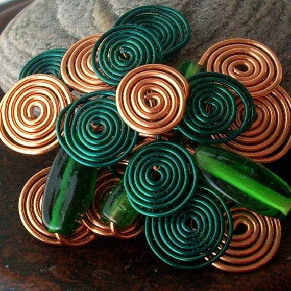 copper emerald green - swirls and pearls brooch - wire spirals pin