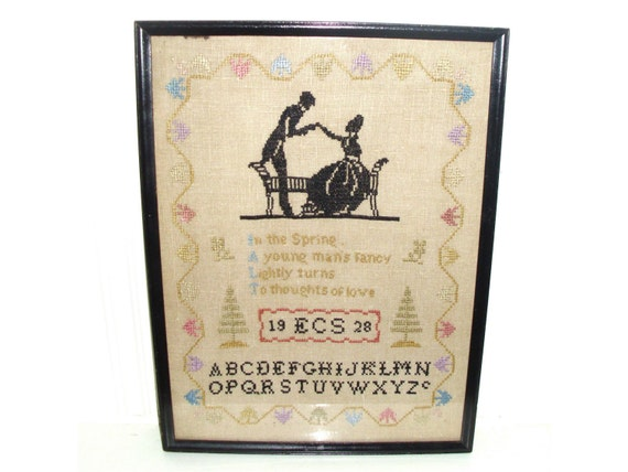 Vintage 1920s sampler romantic silhouette love courtship cross stitch embroidery