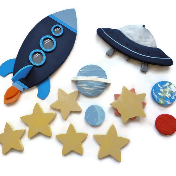 Rocket Ship, Alien Space Ship and Outer Space Wall Decor for Kids Bedroom or Babies Nursery