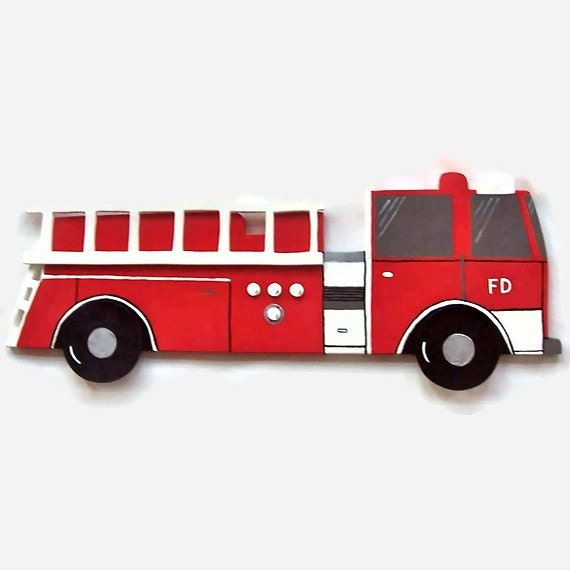 fire truck wall hanging for kids bedroom or nursery wooden