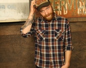 VTG Navy and Maroon Plaid Flannel Mens Long Sleeve Shirt
