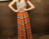 Amazing Vintage 70s Striped Maxi Skirt in Yellow Orange and Blue
