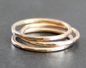 14K Gold Filled Ring  (1 Ring) - Smooth, Faceted or Hammered -1.3mm (16 Gauge)