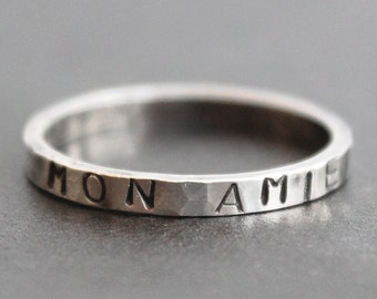 MON AMIE - Friendship Ring - Sterling Silver 2mm Hammered Band - Custom Stamped Ring
