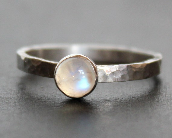 Rainbow Moonstone Silver Ring 6mm Gemstone on Hammered Sterling Band