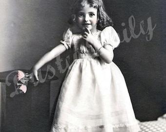 Vintage Photo Adorable Little Girl - Large Digital Download
