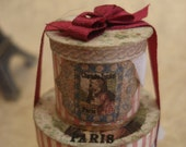 Two Hatboxes Stacked with Silk Ribbon