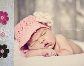 Crochet Baby Newsboy Hat with Clips, Hat with Flower Clip, Baby Girl Hat, Crochet Baby Hats, Pink, Cotton, 3 to 6 Months