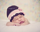 Crochet Baby Girl Hat, Crochet Hats for Babies, Cotton Baby Hat with Flower, Brown, Off White, Pink, Cotton, 0 to 12 Months