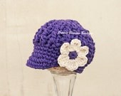 Baby Girl Hat with Flower, Baby Girl Newsboy Hat, Purple Baby Hat, Cotton, Newborn Size
