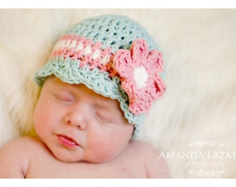 Baby Crochet Hat for Newborn Girls, Robin Egg Blue Hats for Babies, Crochet Baby Hat, Baby Girl Beanies, Newborn Size