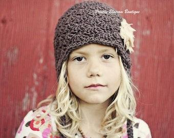 Girl's Brown Earflap Hat, Crochet Toddler Beanie, Crochet Hats for Girls, Earflap Hat, 12 Months to 4T Hat