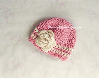 Newborn Crochet Hat for Baby Girl, Pink Baby Beanie, Crochet Baby Hat, Newborn Size