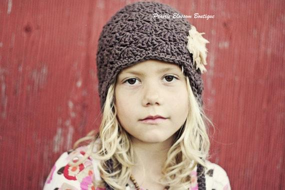 Girl's Brown Earflap Hat, Crochet Toddler Beanie, Crochet Hats for Girls, Earflap Hat, 12 Months to 4T Hat