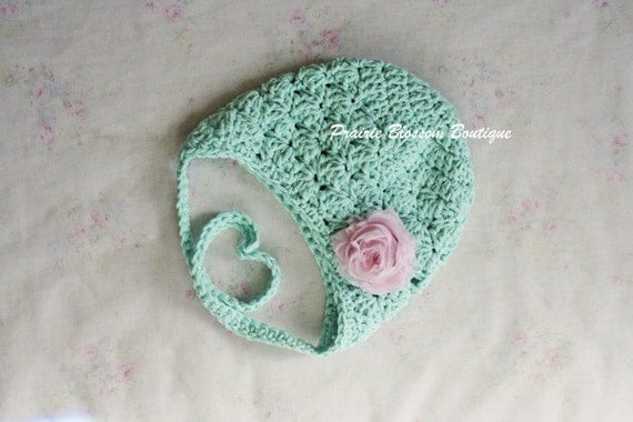 Newborn Crochet Hat Pattern With Ear Flaps : Crochet Baby Hat with Ear Flaps Baby Girl Hat by ...
