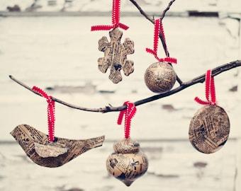 Pick your Set of 6-Newsprint Ornaments