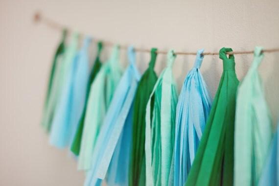 Tassel Party Garland: Shades of Green