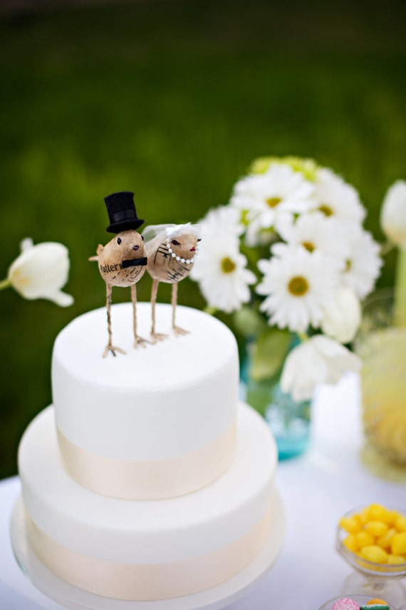 Love Bird Bride And Groom Cake Toppers By Tuckandbonte