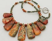 Earth, Wind and Fire - Picasso Jasper and  Sterling Silver Necklace