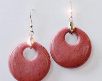 Rhapsody in Pink - Beautiful Rhodonite Drop Sterling Silver Earrings
